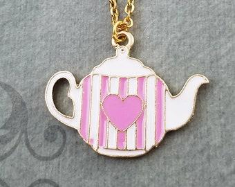 Teapot Necklace Pink Heart Teapot Charm Necklace Tea Necklace Tea Jewelry Girlfriend Necklace Bridesmaid Necklace Tea Pendant Necklace Gift