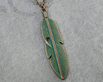 Feather Necklace Patina Feather Charm Necklace Blue Patina Green Patina Jewelry Grecian Jewelry Bohemian Jewelry Feather Pendant Necklace