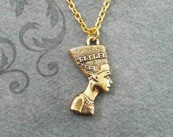 Nefertiti Necklace SMALL Queen Nefertiti Jewelry Egyptian Necklace Egyptian Jewelry Gold Nefertiti Pendant Necklace Nefertiti Charm Jewelry