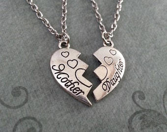 Mother and Daughter Necklace, Best Friends Necklace, Split Heart Necklace, Broken Heart Jewelry, Heart Pendant Necklace, Mother's Day Gift