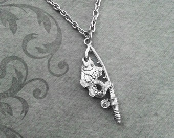 Fishing Pole Necklace SMALL Fish Hook Necklace Fishing Jewelry Fishing Necklace Fish Jewelry Fishing Gift Fish Necklace Fathers Day Necklace