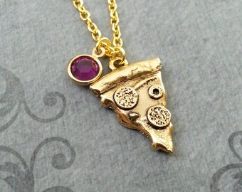 Pizza Necklace Pepperoni Pizza Jewelry Gold Pizza Charm Necklace Pizza Slice Necklace Pizza Pendant Necklace Pizza Gift Birthstone Necklace