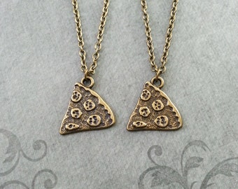 Pizza Necklace Pepperoni Pizza Jewelry Bronze Pizza Charm Friendship Necklace Pizza Slice Necklace Pendant Pizza Gift Best Friends Necklace