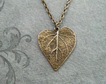 Leaf Necklace SMALL Bronze Leaf Jewelry Heart Shaped Leaf Pendant Necklace Brass Leaf Charm Necklace Bridesmaid Necklace Girlfriend Gift