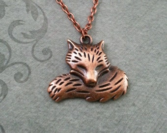 Fox Necklace Copper Fox Jewelry Fox Pendant Necklace Fox Charm Necklace Copper Jewelry Bridesmaid Necklace Sleeping Fox Gift Animal Necklace