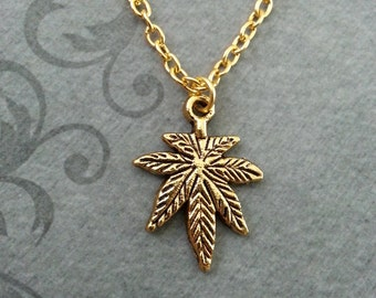 Pot Leaf Necklace SMALL Marijuana Leaf Necklace Weed Gift Hemp Leaf Pendant, Weed Necklace Pot Necklace Pot Jewelry Marijuana Necklace 420