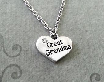 Great Grandma Necklace SMALL Great Grandma Jewelry Grandmother Necklace Grandmother Jewelry Grandma Heart Necklace Silver Pendant Necklace