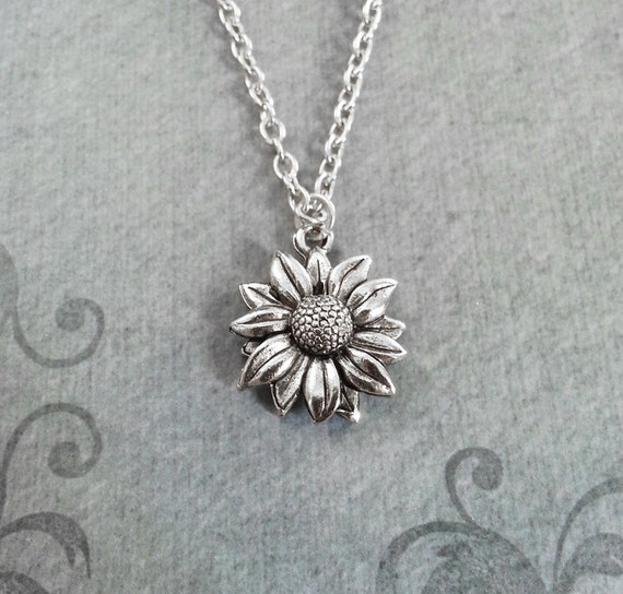 Sunflower necklace small sunflower jewelry sunflower pendant aloadofball Gallery
