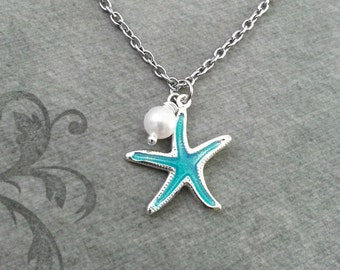 Blue Starfish SMALL Starfish Jewelry Beach Necklace Pearl Necklace Teenage Girl Jewelry Bridesmaid Necklace Ocean Necklace Beach Jewelry