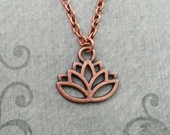 Lotus Necklace SMALL Lotus Flower Necklace Yoga Necklace Meditation Gift Yoga Teacher Buddhist Necklace Copper Lotus Pendant Lotus Charm