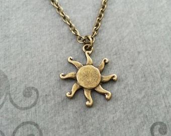 Sun Necklace Sun Charm Necklace Sun Jewelry Summer Necklace Summer Jewelry Bronze Necklace Celestial Necklace Celestial Jewelry Sun Pendant