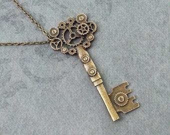 Key Necklace LARGE Skeleton Key Necklace Gear Key Jewelry Steampunk Necklace Bronze Key Charm Necklace Brass Key Pendant Mechanical Key