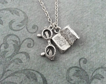 Book Necklace SMALL Reading Glasses Necklace Book Jewelry Teacher Necklace Teacher Gift Librarian Gift Writer Jewelry Reading Gift Book Club