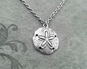 Sand Dollar Necklace SMALL Sand Dollar Jewelry Silver Necklace Sand Dollar Charm Necklace Sand Dollar Jewelry Beach Necklace Ocean Necklace