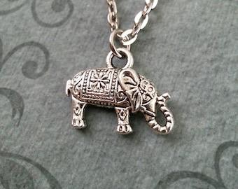 Elephant Necklace Indian Elephant Gift, SMALL Elephant Jewelry Elephant Pendant Ornate Elephant Charm Stocking Stuffer Carved Elephant Gift