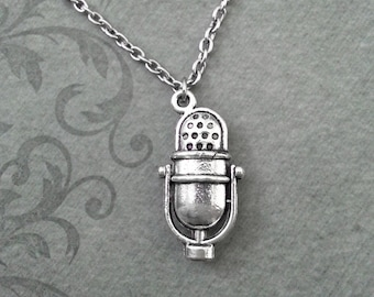 Microphone Necklace, SMALL Mic Necklace, Radio Necklace, Broadcasting Gift, Radio Gift, Musician Gift Bridesmaid Necklace, Musician Necklace