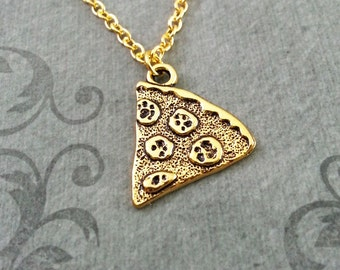 Pizza Necklace Pepperoni Pizza Jewelry Gold Pizza Charm Necklace Pizza Slice Necklace Pizza Pendant Necklace Pizza Gift Bridesmaid Necklace