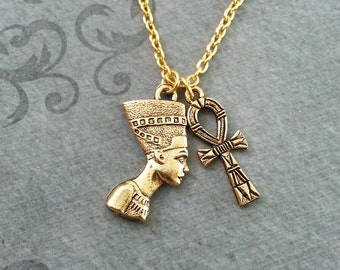 Nefertiti Necklace SMALL Ankh Necklace Queen Nefertiti Jewelry Egyptian Necklace Egyptian Jewelry Gold Necklace Gold Nefertiti Pendant