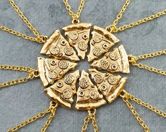 Pizza Friendship Necklaces Pepperoni Pizza Necklace Pizza Jewelry Gold Pizza Charm Bestfriends Necklace Bridesmaid Necklaces Pizza Set of 8