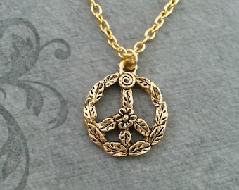 Peace Sign Necklace SMALL Gold Peace Jewelry Flower Peace Necklace Bohemian Necklace Hippie Necklace Peace Symbol Necklace Leaf Peace Sign