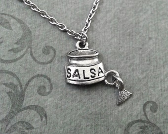 Salsa Necklace SMALL Tortilla Chip Necklace Pendant Necklace Mexican Food Necklace Food Jewelry Silver Necklace Mexican Necklace Salsa Gift