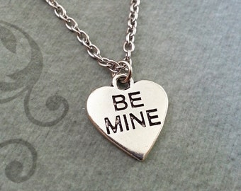 Be Mine Necklace, SMALL Conversation Heart Pendant Necklace, Anniversary Gift, Candy Heart Necklace, Valentine's Day Jewelry Girlfriend Gift