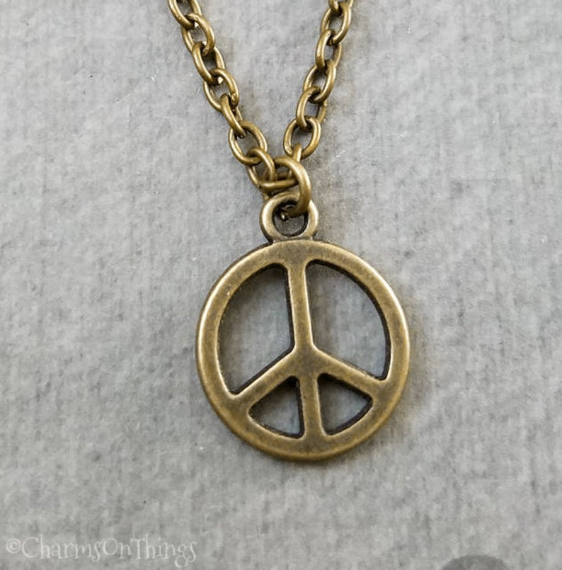 TONSEE Retro Peace Necklace Pendant Black Leather Cord Choker Charm