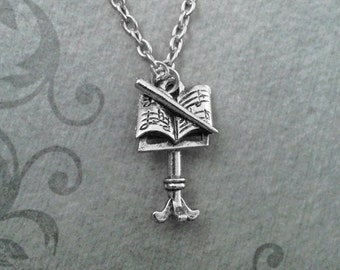 Music Stand Necklace SMALL Classical Music Necklace Musician Gift Music Gift Sheet Music Necklace Conductor Stand Gift Band Necklace Charm