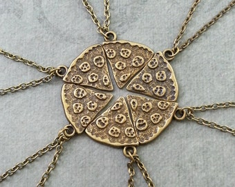 Pizza Necklace Pepperoni Pizza Jewelry Bronze Pizza Charm Necklace Whole Pizza Slice Necklace Set 6 Best Friends Necklaces Brass Pizza Gift