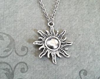 Sun Necklace Sun Charm Necklace Sun Jewelry Summer Necklace Summer Jewelry Silver Necklace Celestial Necklace Celestial Jewelry Sun Pendant