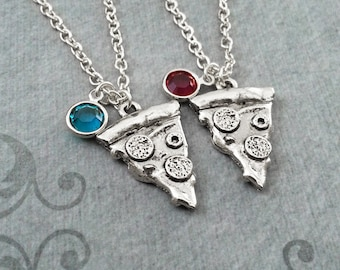 Pizza Necklace Pepperoni Pizza Jewelry Silver Pizza Charm Necklace Pizza Slice Necklaces Bestfriends Necklace Pizza Gift Birthstone Necklace