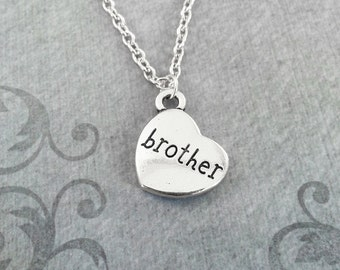 Brother Necklace SMALL Brother Jewelry Brother Heart Necklace Sister Necklace Sister Jewelry Silver Pendant Necklace Charm Necklace Gift