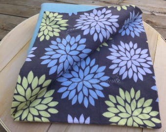 Floral Flannel Receiving Blanket with Contrasting Trim