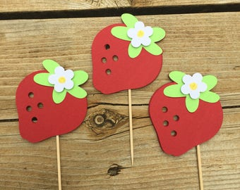 Strawberry & Flower Cupcake Topper