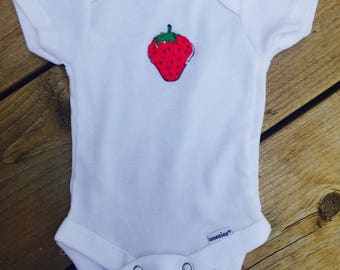 Hand Appliquéd Strawberry Onesie