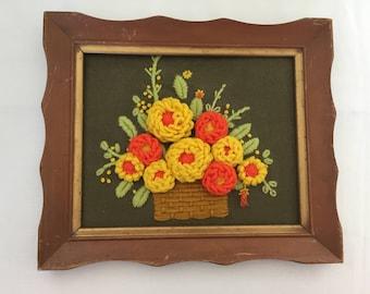 Vintage Framed Crewel Embroidery