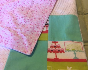 Patchwork Flannel Receiving Blanket with Contrasting Trim