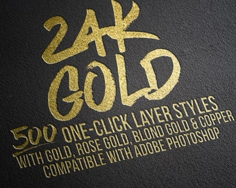500 One-click Gold Foil Layer Styles for Adobe Photoshop. Layer Effects, Text Effects, Rose Gold Styles, Rose Gold Layer Styles, Textures