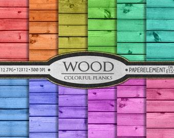 Colorful Wood Digital Paper: Red Wood, Orange Wood, Yellow Wood, Green Wood, Blue Wood, Teal Wood, Purple Wood, Violet Wood, Pink Wood Plank