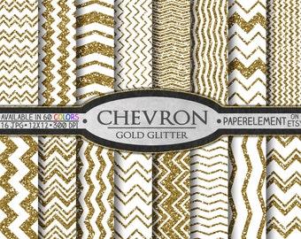 Gold Glitter Chevron Digital Paper: Gold Glitter Patterns, Glitter Designs, Chevron Backgrounds, Chevron Sparkle, Instant Download Paper