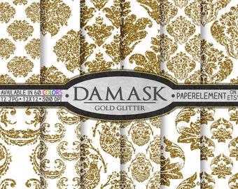Gold Glitter Damask Digital Paper: Gold Glitter Printables, Shiny Scrapbook Pages, Sparkle Damask Patterns, Damask Backgrounds, Downloadable
