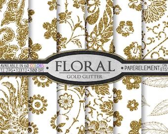 Gold Glitter Floral Digital Paper: Gold Glitter Flower Printables, Shiny Vine Scrapbook Pages, Sparkle Floral Patterns, Plant Backgrounds