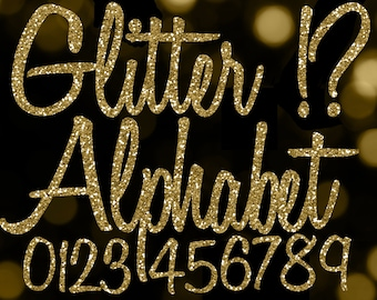 Gold Glitter Alphabet Clipart Clip Art Letters Cursive Font Numbers