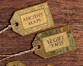Printable Gift Tags: Old World Maps Gift Tags - Digital Gift Tags with Vintage Maps and Old Paper Labels - Instant Download Digital Tags