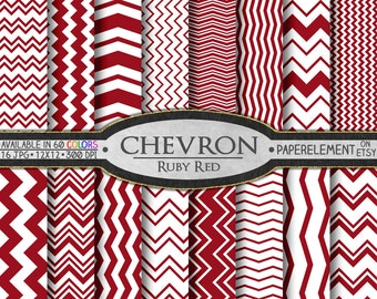Ruby Red Chevron Digital Paper Pack - Deep Red Chevron Seamless Invitation Patterns - Commercial Use Chevron Pages - Deep Red Backdrop