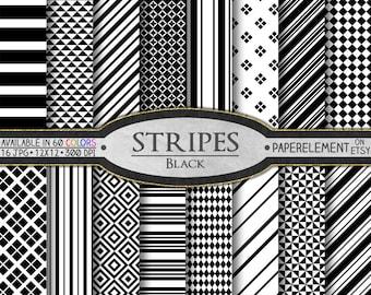 White and Black Stripe Digital Paper Pack: Black Stripes Paper, Black Stripe Background, Black and White Stripe Patterns, Black Patterns