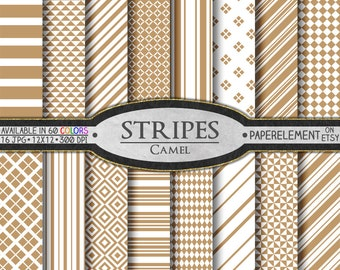 Camel Neutral Stripes Digital Paper - Horizontal Stripe Patterns - Printable Stripe and Diamond Geometric Backgrounds - Tan and Taupe