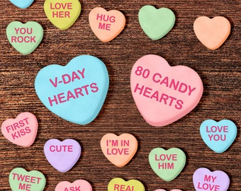 Conversation Heart Clipart: Valentine Clipart, Valentines Clip Art, Candy Clipart, Candy Heart Clip Art Props - Instant Download Hearts