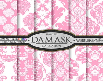 Carnation Pink Damask Digital Scrapbooking Paper Set - Printable Patterns - Instant Download