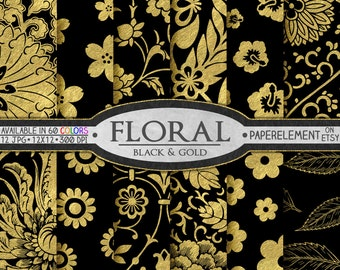 Black and Gold Floral Digital Paper Pack: Elegant Digital Paper, Black and Gold Foil Floral Printables, 12x12 Black and Gold Flower Patterns